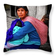 Indigenous Woman And Children Of Mexico Throw Pillow