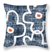 Indigo And White Jumbo Flowers- Art By Linda Woods Throw Pillow