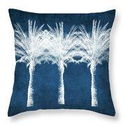 Indigo And White Palm Trees- Art By Linda Woods Throw Pillow