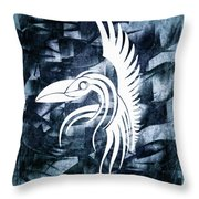 Indigo Bird Flight Contemporary Throw Pillow