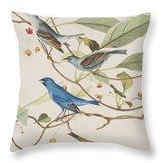 Indigo Bird Throw Pillow