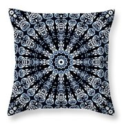 Indigo Flow Blue Kaleidoscope Throw Pillow