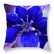 Indigo Flower Throw Pillow