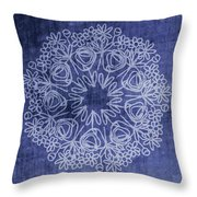 Indigo Mandala 1- Art By Linda Woods Throw Pillow