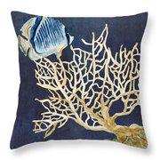 Indigo Ocean - Tan Fan Coral N Angelfish Throw Pillow