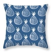 Indigo Pineapple Party Throw Pillow by Linda Woods