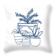 Indigo Potted Succulents- Art By Linda Woods Throw Pillow