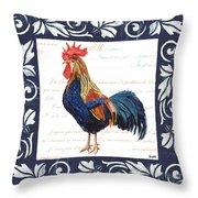 Indigo Rooster 2 Throw Pillow