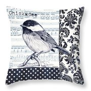 Indigo Vintage Songbird 2 Throw Pillow