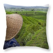 Indonesian Rice Farmer Throw Pillow