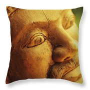 Indonesian Wood Carving Throw Pillow