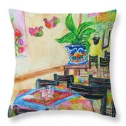 Indoor Cafe - Gifted Throw Pillow