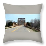 Industrial Bridge Over The Red River Throw Pillow