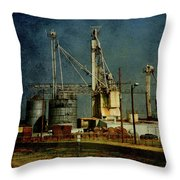 Industrial Farming In Texas Throw Pillow