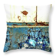 Industrial Rust On Blue Metal Throw Pillow