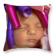 Infant With Ribbon Curls Throw Pillow