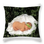 Newborn Infant Lying In Ivy Throw Pillow