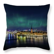 Infinite Aurora Over Stockholm Throw Pillow