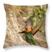 Inflight Feeding Bee Eater Throw Pillow
