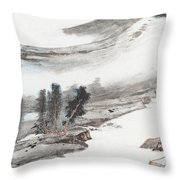 Ink And Wash Pine Throw Pillow