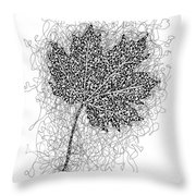 Ink Drawing Of Maple Leaf Throw Pillow