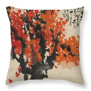 Ink Painting A Tree Gules Persimmon Girl Throw Pillow