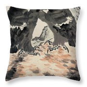 Ink Painting Eagle Throw Pillow