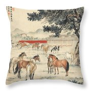 Ink Painting Horse Throw Pillow