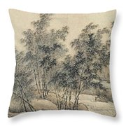 Ink Painting Landscape Bamboo Forest Rivers Throw Pillow