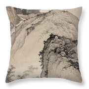 Ink Painting Landscape House Throw Pillow