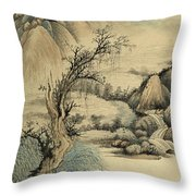 Ink Painting Landscape River Throw Pillow