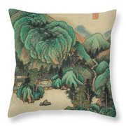 Ink Painting Mountain Thatched Cottage Throw Pillow
