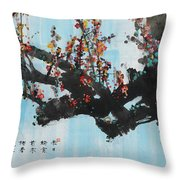 Ink Painting Plum Blossom Blue Throw Pillow