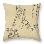 Ink Painting Plum Blossom Throw Pillow