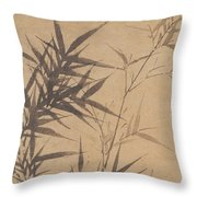 Ink Painting Stone Bamboo Throw Pillow
