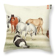 Ink Painting Stud Of Horses Throw Pillow
