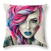 Inked Neon Throw Pillow