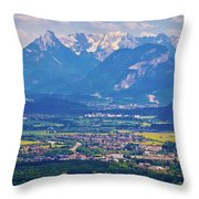 Inn River Valley And Kaiser Mountains View Throw Pillow
