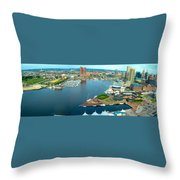 Inner Harbor Baltimore Panorama Throw Pillow
