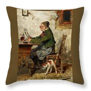 Innkeeper With A Cat Throw Pillow