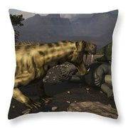 Inostrancevia Moving In On A Kill Made Throw Pillow