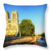 Notre Dame In Sunset Light Throw Pillow