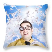 Insane Business Man With Busy Travel Schedule Throw Pillow