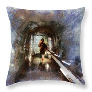 Inside An Ice Tunnel In Switzerland Throw Pillow