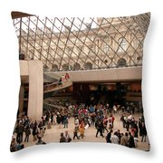 Inside Louvre Museum Pyramid Throw Pillow
