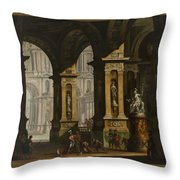 Inside Of The Palace With Soldiers Throw Pillow