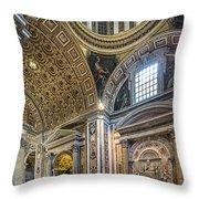 Inside St Peter's Basilica Rome Throw Pillow