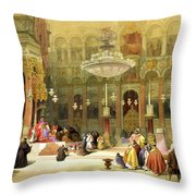 Inside The Church Of The Holy Sepulchre Throw Pillow