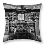 Inside The Cockpit Black And White Throw Pillow