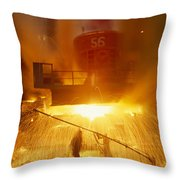Inside The East-slovakian Steel Mill Throw Pillow